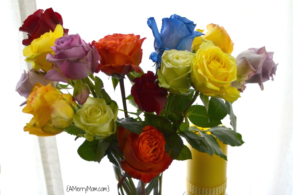 Rainbow rose bouquet from The Bouqs Company - AMerryMom.com