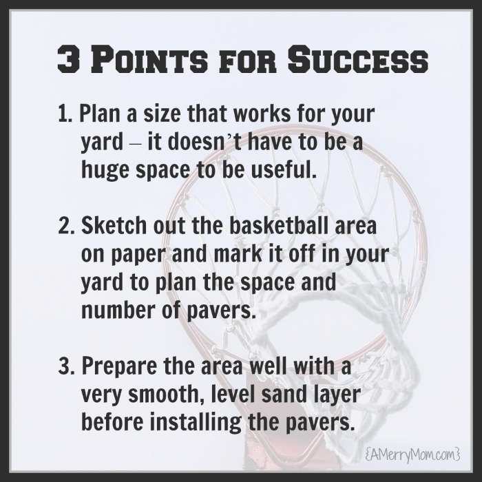 DIY backyard basketball court - 3 points for success - AMerryMom.com
