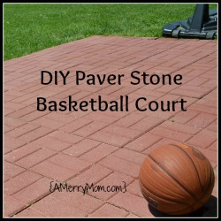 Made by mom a diy paver stone basketball court for Homemade basketball court