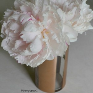 Peonies in DIY striped painted vase - amerrymom.com