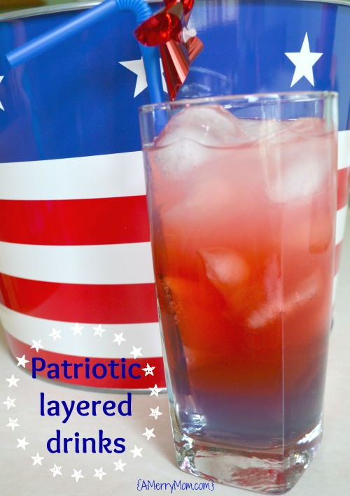 Non-alcoholic red, white, blue layered drinks - amerrymom.com