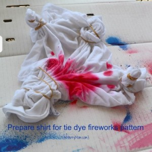 Tie dye shirt fireworks pattern - in progress - amerrymom.com
