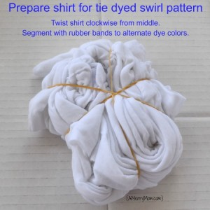 Tie dye shirt - prepared for swirl pattern - amerrymom.com
