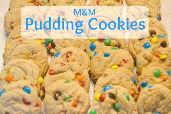 M&M pudding cookies - recipe at AMerryMom.com