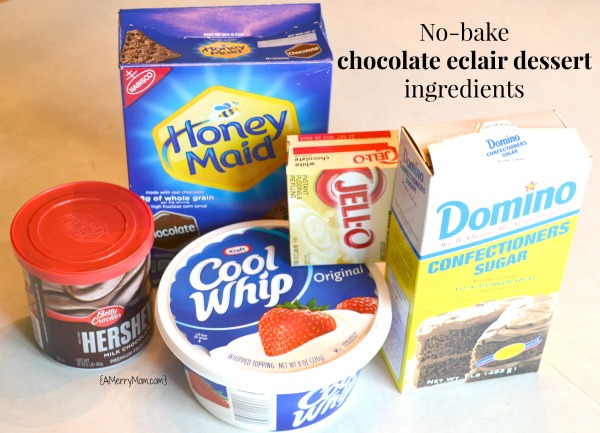 No-bake chocolate eclair dessert recipe ingredients - amerrymom.com