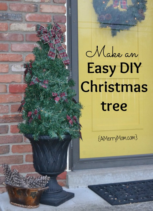 Make an easy DIY Christmas tree for the porch using a tomato cage - AMerryMom.com