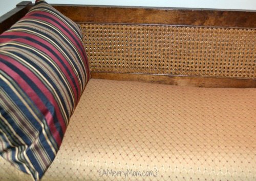 Recovered bench cushion with new pillows - AMerryMom.com