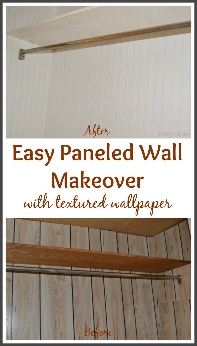 Paneled Wall Makeover In A Closet With Textured Beadboard Wallpaper    AMerryMom.com