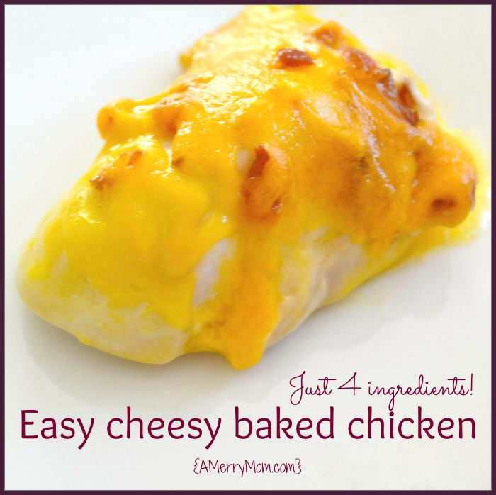 Easy cheesy baked chicken recipe | AMerryMom.com