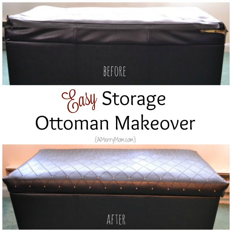 Storage ottoman makeover before-after