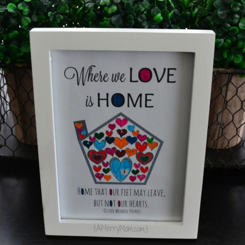 Where we love is home - printable coloring page for Valentine's Day