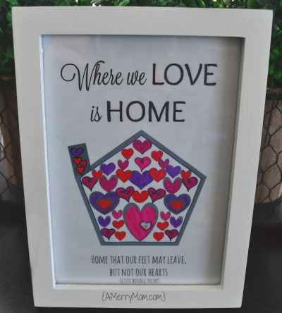 Where we love is home - free printable adult coloring page