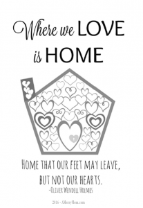 Where we love is home - free printable adult coloring page in PDF
