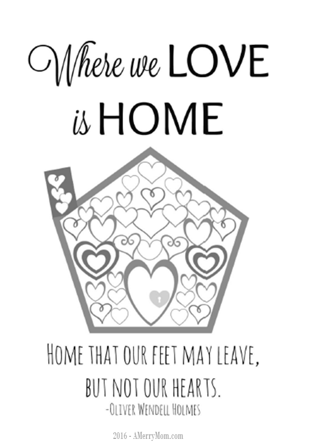 Where we love is home - free printable adult coloring page for Valentine's Day