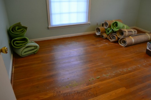 1960s hardwood floor under carpeting
