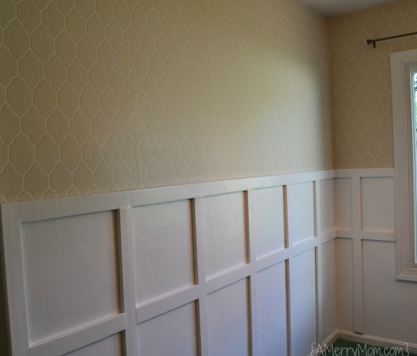 Board and batten dining room makeover with wallpaper